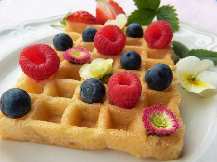 Waffles de mirtilos vegan