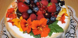 Bolo de laranja e frutos silvestres