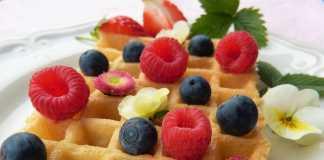 Waffles de mirtilos vegan