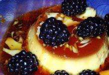 Pudim de natas de soja e amoras